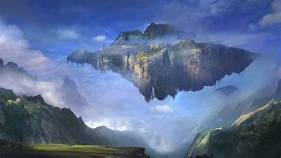 Floating Island Sky Mountain Clouds Artwork Wallpapers