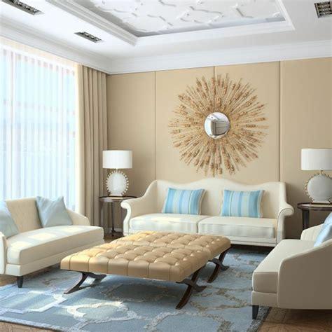 wunderbare kombination von graublau und beige im interior