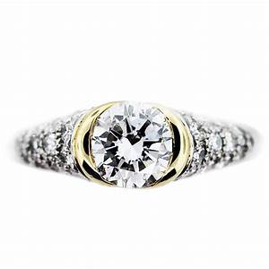 1ct round diamond engagement ring bezel set platinum 18k gold for 18k gold wedding ring set