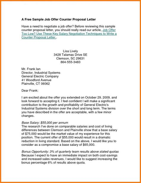 counter offer letter counter offer letter template business 13322