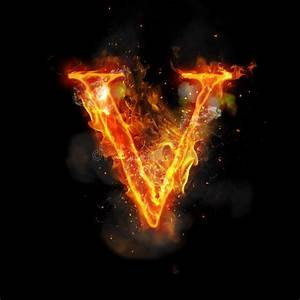 Fire Letter V Of Burning Flame Light Stock Illustration ...
