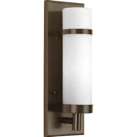 Home Depot Wall Light Sconce progress lighting 1 light antique bronze fluorescent wall