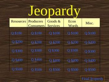 grade economics jeopardy game  tricks   trade