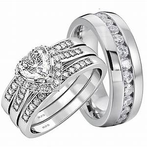 His and hers wedding rings 4 pcs engagement sterling for Wedding bands and engagement ring sets
