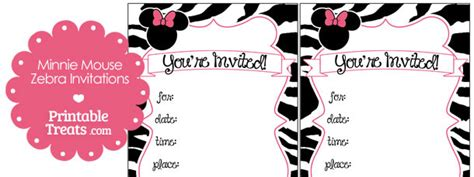 printable minnie mouse zebra invitations printable