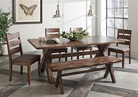 Compass Furniture Knotty Nutmeg Dining Table Wbench And 4