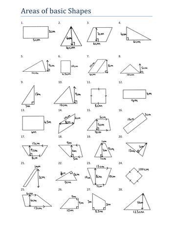 area  basic shapes worksheet ks teaching resources