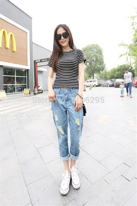 Casual Korean Street Style Fashion Women Denim Loose Ripped Jeans Clubwear Harem Pants-in Jeans ...