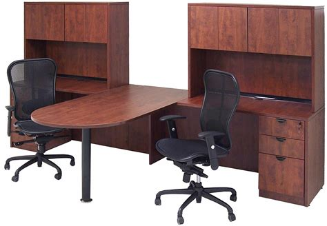 two person office desk cherry laminate 2 person peninsula workstation w hutches
