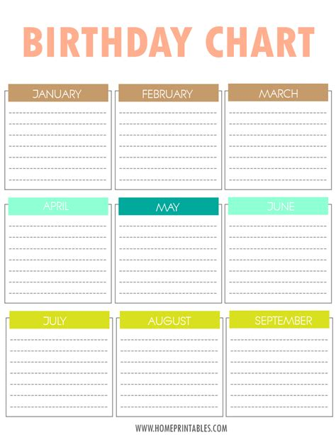 Birthday Chart Template For Classroom by Free Printable Birthday Chart Home Printables