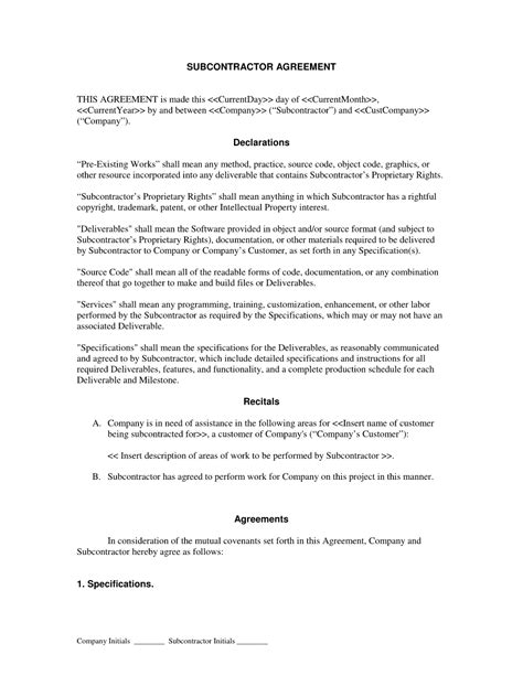 subcontractor agreement form  printable documents