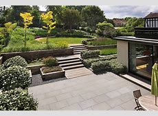 Beautiful town garden black, granite stone paving, hard