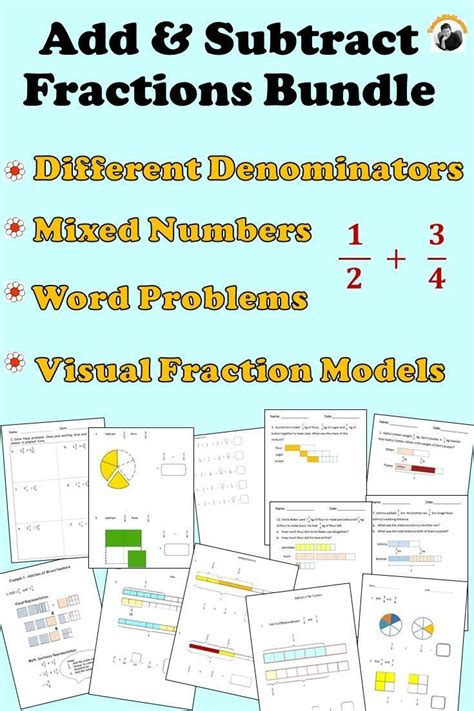 fractions worksheets bundle  grade  grade add