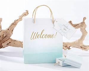 Beach tides welcome bags set of 12 starfish blue white for Destination wedding gift bags