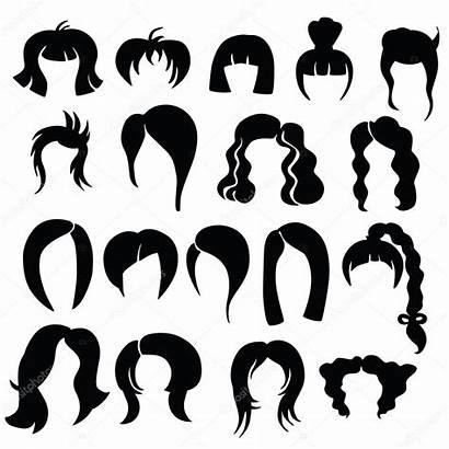 Silhouette Hairstyles Variety Silhouettes Curly Clipart Coiffures