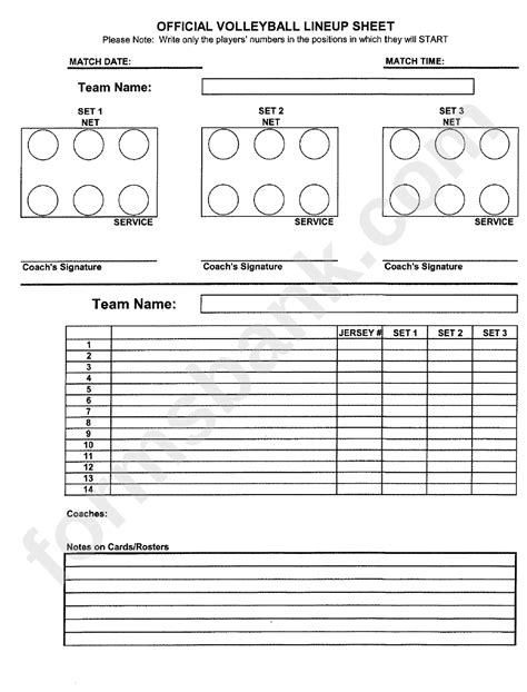 official volleyball lineup sheet printable