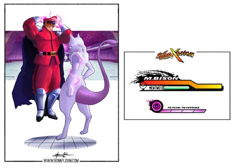 M Bison X Mewtwo Street Fighter X Pokemon By Bonnyjohn
