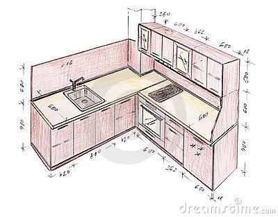 sketch kitchen design modern interior design kitchen freehand drawing stock 2288