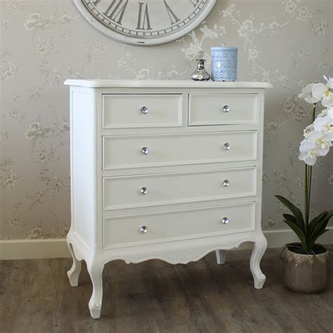 white chest of drawers 5 drawer chest elise white range melody maison 174