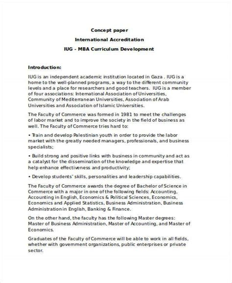 A business concept paper is a fairly brief document detailing the basic concept behind your business. Sample Of A Business Concept Paper - Example of a Product ...