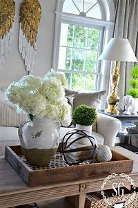coffee table centerpieces bHOME SUMMER OPEN HOUSE TOUR | Trays, Coffee and Living rooms