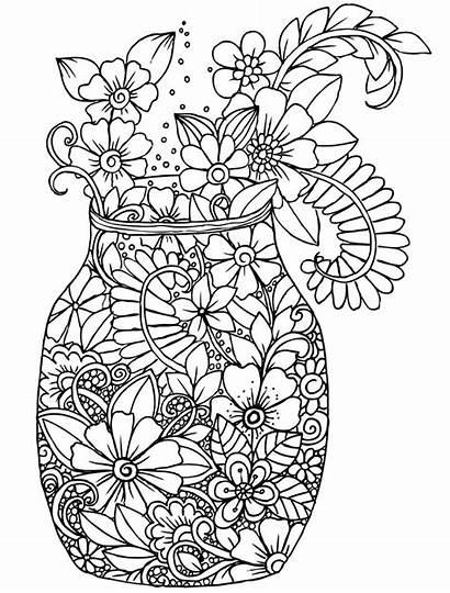 Coloring Pages Adult Flower Gel Pens Cafe