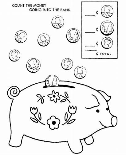 Coloring Pages Bank Piggy Money Printable Coins