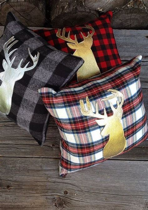 deer antlers and plaid for christmas buffalo plaid pillow lodge decor deer pillow gold by jadiecakes holidays
