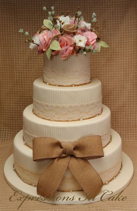 Rustic Country Chic Wedding Cake Features Handmade