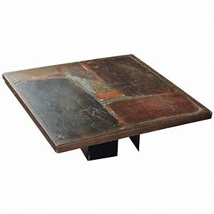 Slate stone square coffee table by paul kingma signed for Square slate coffee table