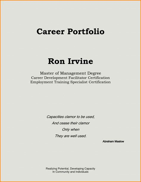 cover sheet for career portfolio cover letter templates