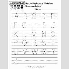Handwriting Practice Worksheet  Free Kindergarten English
