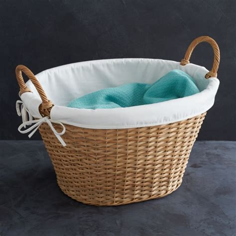 wicker laundry basket  liner reviews crate  barrel