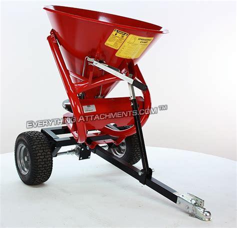 atv garden tractor seeder spreader  pull type unit  metal hopper