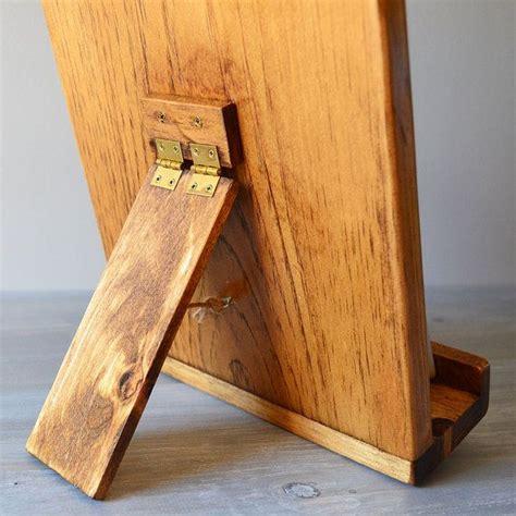 ipad  cookbook stand combo rustic wood cutting board