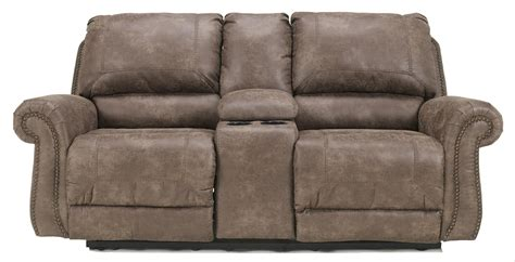 double recliner sofa with console faux leather double reclining power loveseat w console by