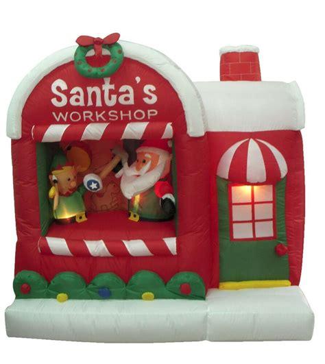 christmas inflatable santa claus workshop elf yard outdoor