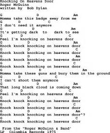 Knocking On Heavens Door, by The Byrds - lyrics and chords