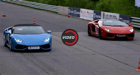 Lambo Vs by Lambo Aventador Roadster Vs Huracan Spyder In A 1 2 Mile