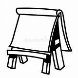 Easel Board Paper Vector Wooden Illustration Sketch Hand Drawn Drawing Line Coloring Simple Blank Empty Diagram Note Canvas Comp Whiteboard sketch template