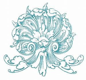 Vintage Ornamental Clip Art - Shell with Scrolls - The ...