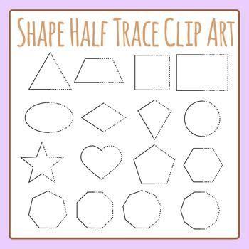 symmetrical shapes  trace shapes clip art set