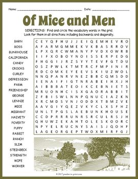 mice  men word search worksheet  puzzles  print