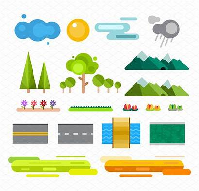 Landscape Icons Constructor Vector Elements Road Map
