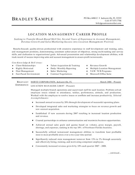 resume for location manager location manager resume