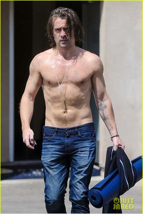 colin farrell strips   sweaty shirt  hot yoga
