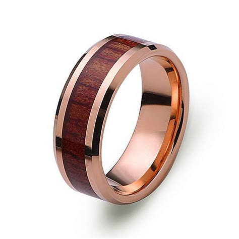 rose gold tungsten wedding band  red wood inlay
