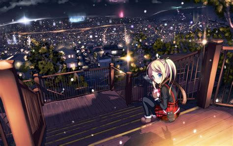 Anime Alone Hd Wallpaper - sitting alone hd anime wallpapers for mobile and