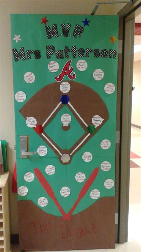 baseball themed door room mom classroom door