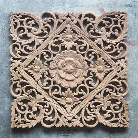 lotus carved wood wall art panel  bali siam sawadee
